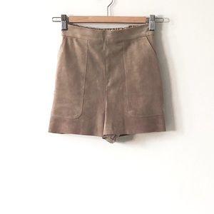 Aritzia Wilfred Taupe Boissier Shorts High Waist